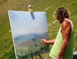 Charles painting at Campo Imperatore Italy