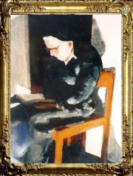 Sitting Portrait of Mother Veronica reading her Bible