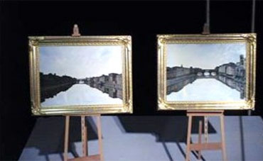 Charles' paintings of the Ponte Sante Trinita and the Ponte Vecchio Florence Italy.