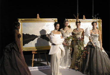 The paintings of Charles Harris with the models from 'Models One' pictured at Earls Court London.