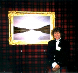 Charles at Art Expo New York with the Loch Tummel painting