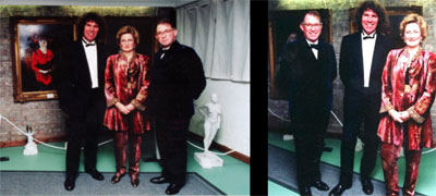 Viscount and Viscountess Stormont pictured with Charles Harris MA BA at the opening Exhibition of the World Tour.