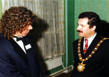 The Lord Mayor of Belfast the Rt. Hon. Alban Maginnes with Charles Harris MA BA at the Belfast Exhibition.