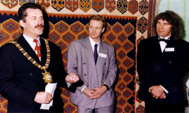 The Lord Mayor of Belfast, the Rt. Hon. Alban Maginnes opens the Belfast Show with Charles Harris and his manager Stephen Bainbridge.