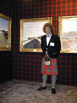 Charles pictured in front of his work 'The Road from Murrayshall'.