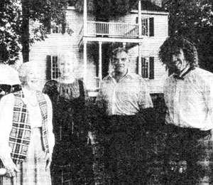 Judith Nisbet of Charlotte, Flora MacDonald Gammon of Waynesville and Bruce Mackie of Massachusetts pictured with Charles Harris.