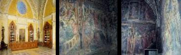 The interior and frescos at the Officina Profumo in Santa Maria Novella Florence.