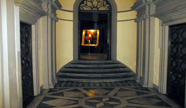 Both Entering and Exiting Charles' Exhibition at the Officina Profumo Santa Maria Novella Florence.