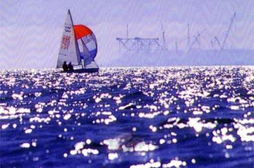 Charles sailing the International 470 at Largo Bay.
