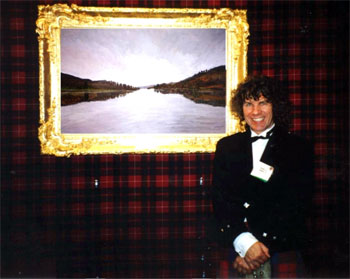 Charles with his painting of Loch Tummel at one of his New York Exhibitions.